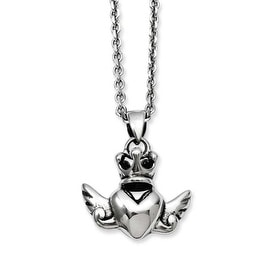 Stainless Steel Heart with Crown & Wings 20in with ext Necklace (2 mm) - 20 in