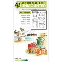 "Containers - Art Impressions Watercolor Cling Rubber Stamps 4""X7"""