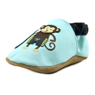 Robeez Surfer Dude Monkey Infant Round Toe Leather Blue Booties Shoes