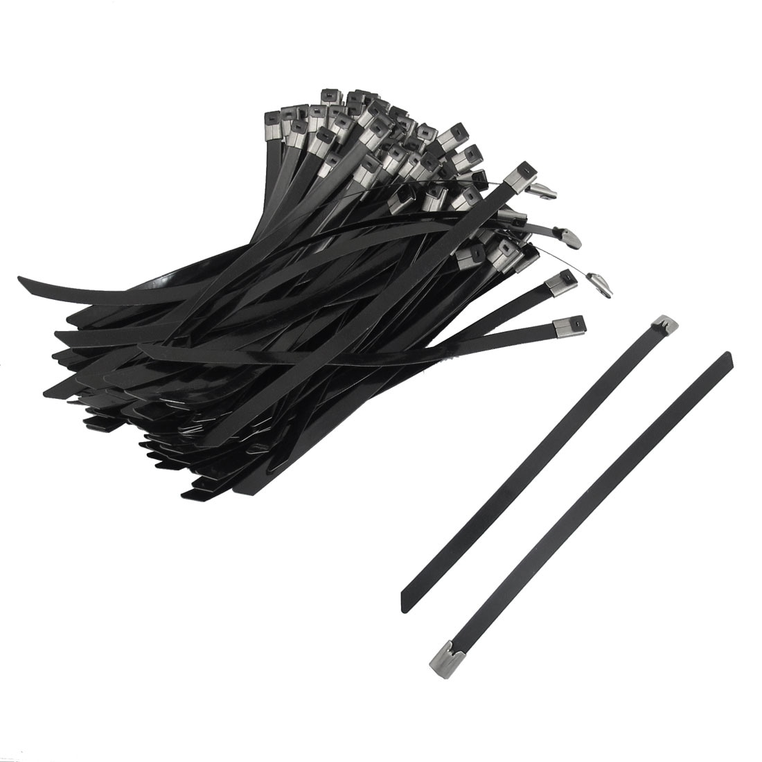 Unique Bargains 100 x 7.8 Length Stainless PVC Sprayed Self Locking Cable Ties Wire Strap