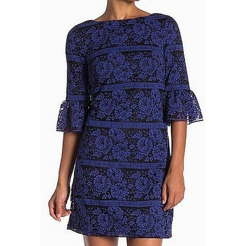 Eliza J Blue Black Womens Size 6 Floral Lace Boat Neck Sheath Dress