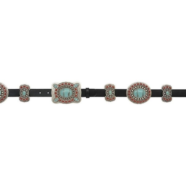 Angel Ranch Western Belt Womens Leather Conchos Crystals Brown