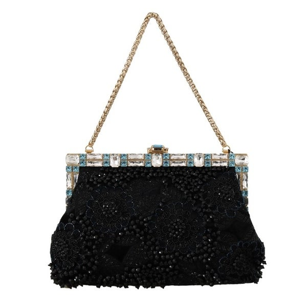 6bc7246cf0a0 Shop Dolce   Gabbana Black Crystal VANDA Sequined Clutch Bag - One ...