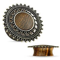 Natural Rose Wood Saddle Plug with Tribal Round Shield Top (Sold Individually)