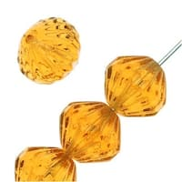 Czech Glass Fluted Cathedral Beads 9mm 'Medium Topaz' (12 Beads)