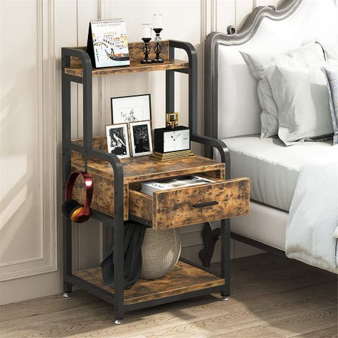 Nightstand, Side Table, 3-Tier End Table with Drawer&Storage Shelves