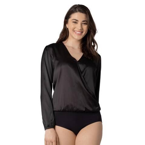 Jane Long Sleeve Cross-Over Full Back Bodysuit