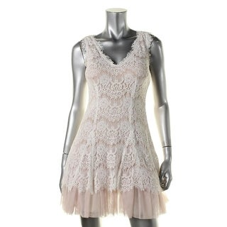 Betsy & Adam Womens Petites Lace Padded Bust Cocktail Dress
