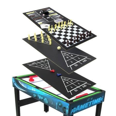 Sunnydaze Multi-Game 10-in-1 Game Table - Billiards Foosball Hockey Pool