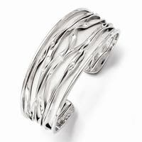 Sterling Silver Rhodium-plated Medium Tappered Scrunch Bangle