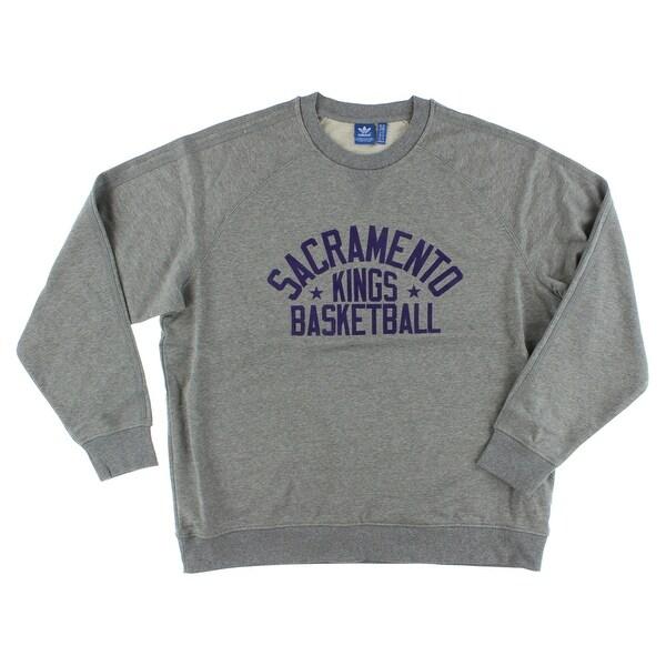 55924abf3968 Adidas Mens Kings Crew Neck Pullover Grey - Grey/Purple - XxL