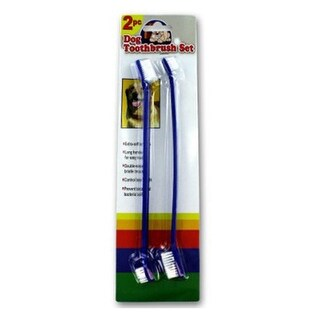 Dog Toothbrush Set - 2 Pieces - 8 1/2 inches