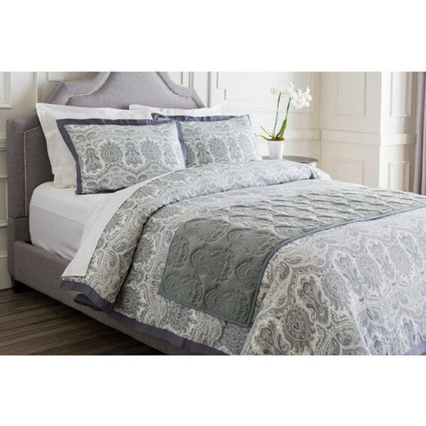 Flint Gray Infinite Indian Floral Paradise Patterned Cotton Quilted Bed Runner