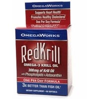 OmegaWorks Red Krill Omega-3 Krill Oil 300 mg Softgels Dietary Supplement 60 Soft Gels
