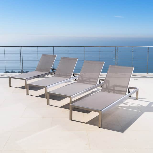 Cape Coral Aluminum Adjustable Chaise Lounges (Set of 4) by Christopher Knight Home - Grey