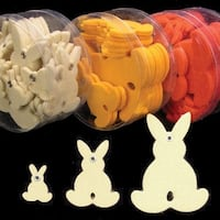 "Club Pack of 144 Ivory White Fuzzy Felt Bunnies in Assorted Sizes 1"", 2"", 3"""
