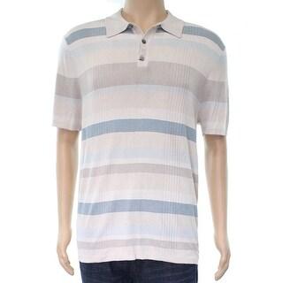 Alfani NEW Beige Striped Knit-Polo Mens Size 2XL Colorblock Silk Shirt