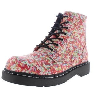 T.U.K. Womens Sprinkle Faux Leather Printed Combat Boots
