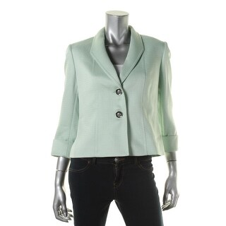 Tahari ASL Womens Petites Tim Textured Cuff Sleeves Two-Button Blazer - 0p