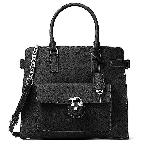 MICHAEL KORS Emma Large Saffiano Leather Convertible Tote Bag Black