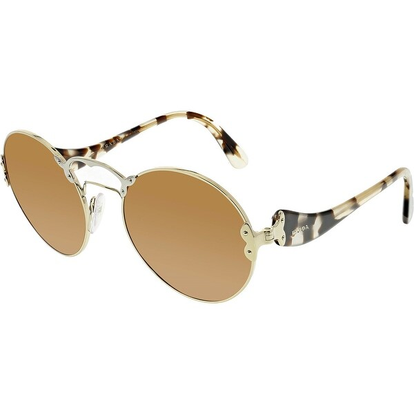 6fe14333e84 Shop Prada Women s PR55TS-ZVN6N0-57 Gold Round Sunglasses - Ships To ...