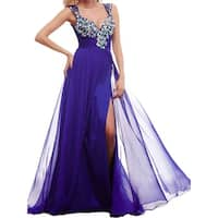 Mac Duggal Womens Formal Dress Chiffon Embellished
