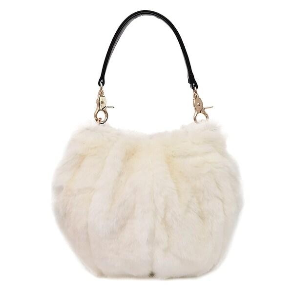 f031e3e4a802 QZUnique Women  x27 s Faux Fur Shoulder Handbag Fluffy Bucket Bag Crossbody  Evening Purse