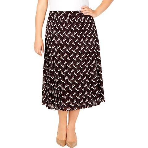 MICHAEL Michael Kors Womens Plus Midi Skirt Chevron Pleated - 16W