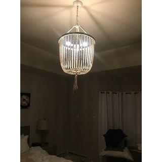 Safavieh Lighting 18-Inch Adjustable Beaded 3-Light Angie Cream Pendant Lamp