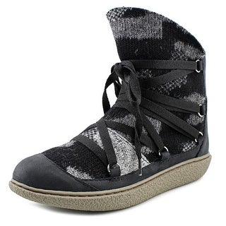 All Black Eskimo Bootie Women Round Toe Canvas Black Bootie