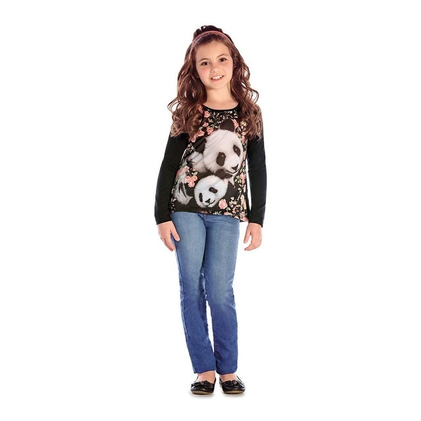 Girls Long Sleeve T-Shirt Panda Graphic Tee Kids Clothing Pulla Bulla 2-10 Years