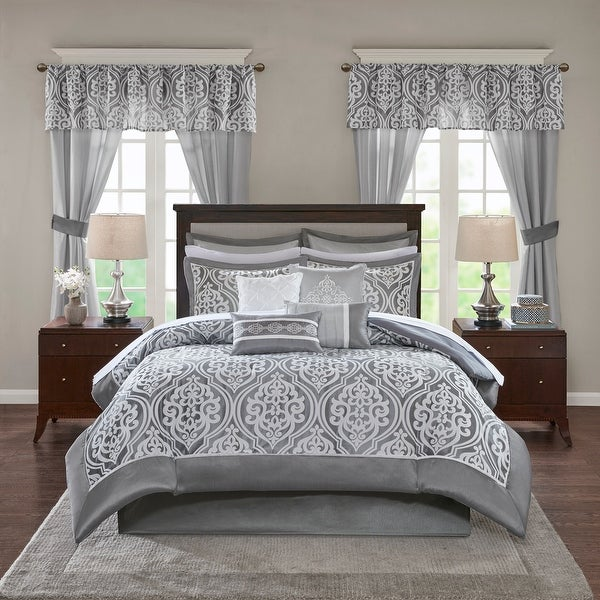 Madison Park Essentials Charley Jacquard Pieced 24 Pieces Room in a Bag - Sheet Set & Window Curtain Included