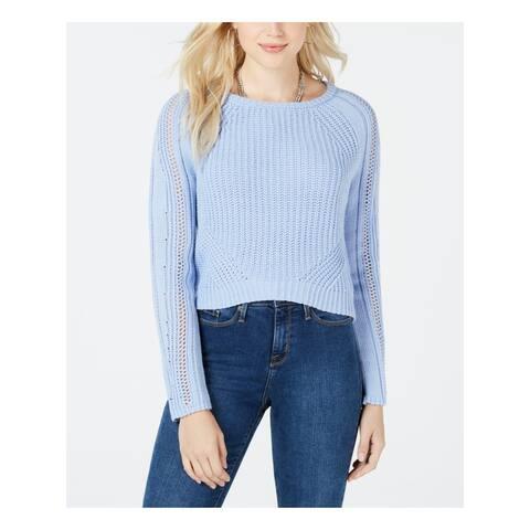 FRESHMAN FOREVER Womens Blue Long Sleeve Jewel Neck Sweater Juniors Size: M
