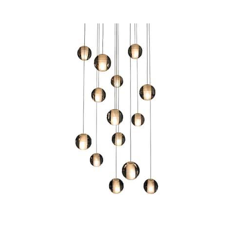 Orion 14-light Floating Glass and Brushed Nickel Globe LED Chandelier - Brushed Nickel - 19 x 122
