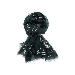 Valentino Camupanther Print Black Cashmere Blend Scarf
