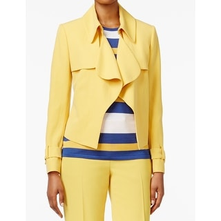 Anne Klein NEW Yellow Women's Size 16 Basic Cropped Trench Jacket