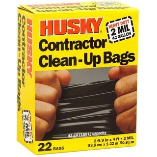 Husky HK42WC022B Contractor Clean-Up Bags, 42 Gallon