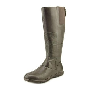 Softwalk Hollywood Wide Calf Women Round Toe Leather Brown Knee High Boot