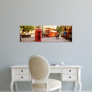 Easy Art Prints Panoramic Image 'Phone Box, Trafalgar Square Afternoon, London, England, United Kingdom' Canvas Art