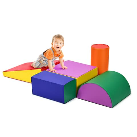 Gymax Crawl Climb Foam Shapes Playset Softzone Toy Toddler Preschoolers Kids - Colorful