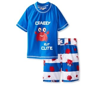 Wippette Toddler Boys Cute Crabby Rashguard & Swim Trunks, 2pc Set