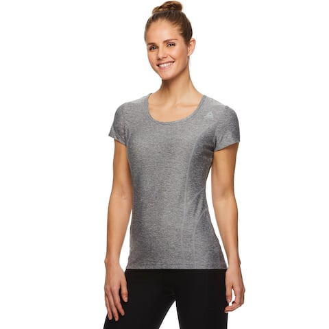 Reebok Women's Fitted Performance Reverse Marled Jersey T-Shirt - Quietshade Heather