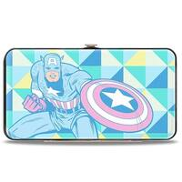 Marvel Comics Captain America 2 Action Poses Triangle Blocks Pastel Blues Hinge Wallet - One Size Fits most