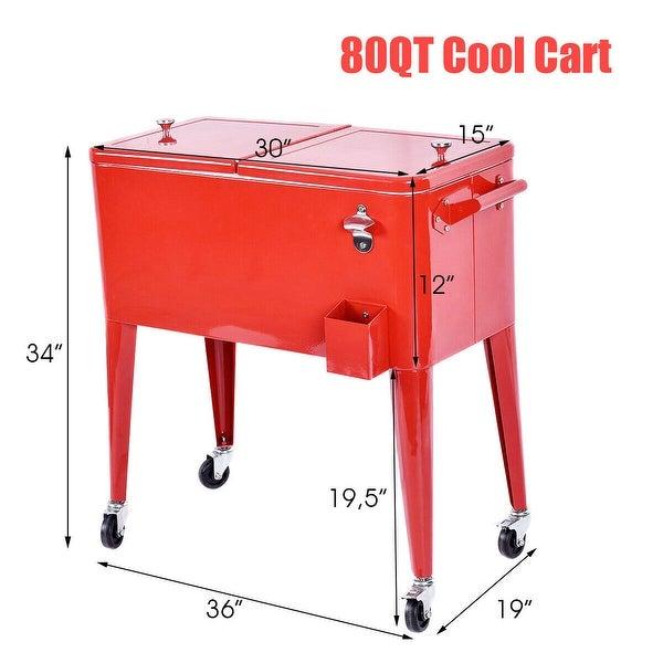 Costway Red Outdoor Patio 80 Quart Cooler Cart Ice Beer Beverage Chest