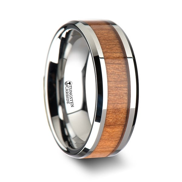 THORSTEN - BRUNSWICK Tungsten Wedding Ring with Polished Bevels and Black Cherry Wood Inlay