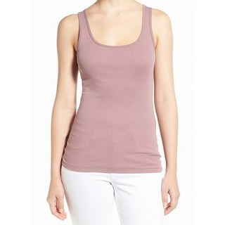 Caslon NEW Purple Women's Size XL Scoop Neck Fitted Tank Cami Top