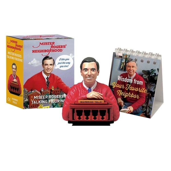 Hachette Mister Rogers Talking Figurine - Electronic Fred Rogers Bust and Trolley Sculpture with Mini Flip Book