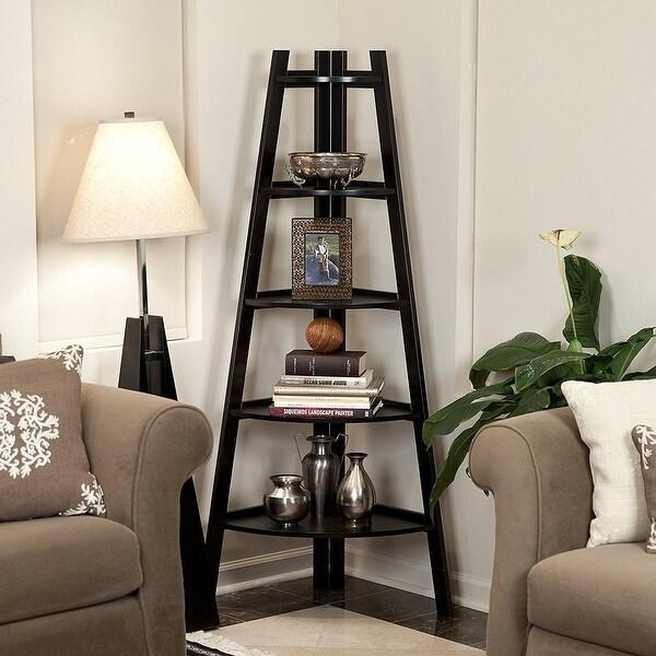 5 Tier Corner Shelf Stand Wood Display Storage Home Furniture Black