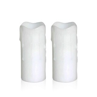 LED Candles-Melted Dripping Flameless Pillar Wax Candle With Timer, 1.75 x 4 Inches, (Pack of 2)