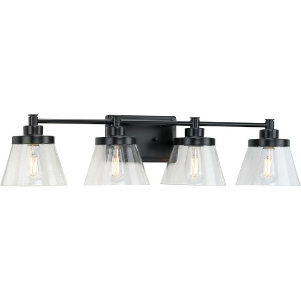 Hinton Collection Four-Light Matte Black Clear Seeded Glass Farmhouse Bath Vanity Light - 33.5 in x 7.12 in x 7.75 in. Opens flyout.